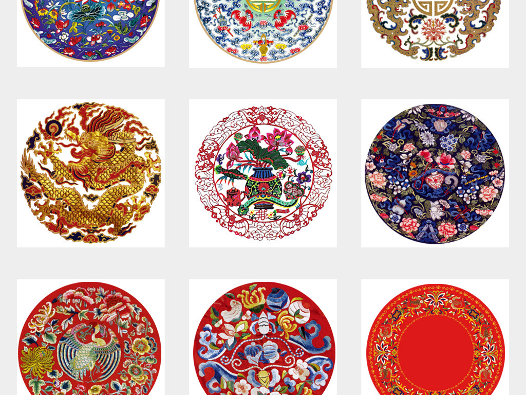 50款中国古典刺绣圆形图案png透明背景免扣素材