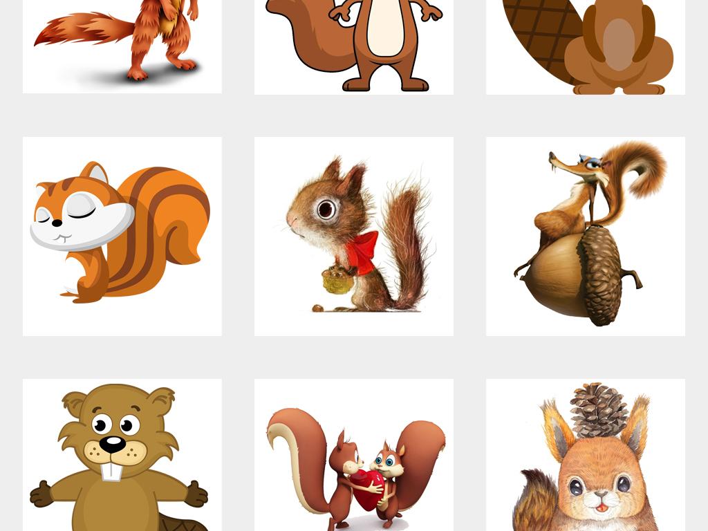 可爱卡通手绘松鼠森林动物png免扣素材