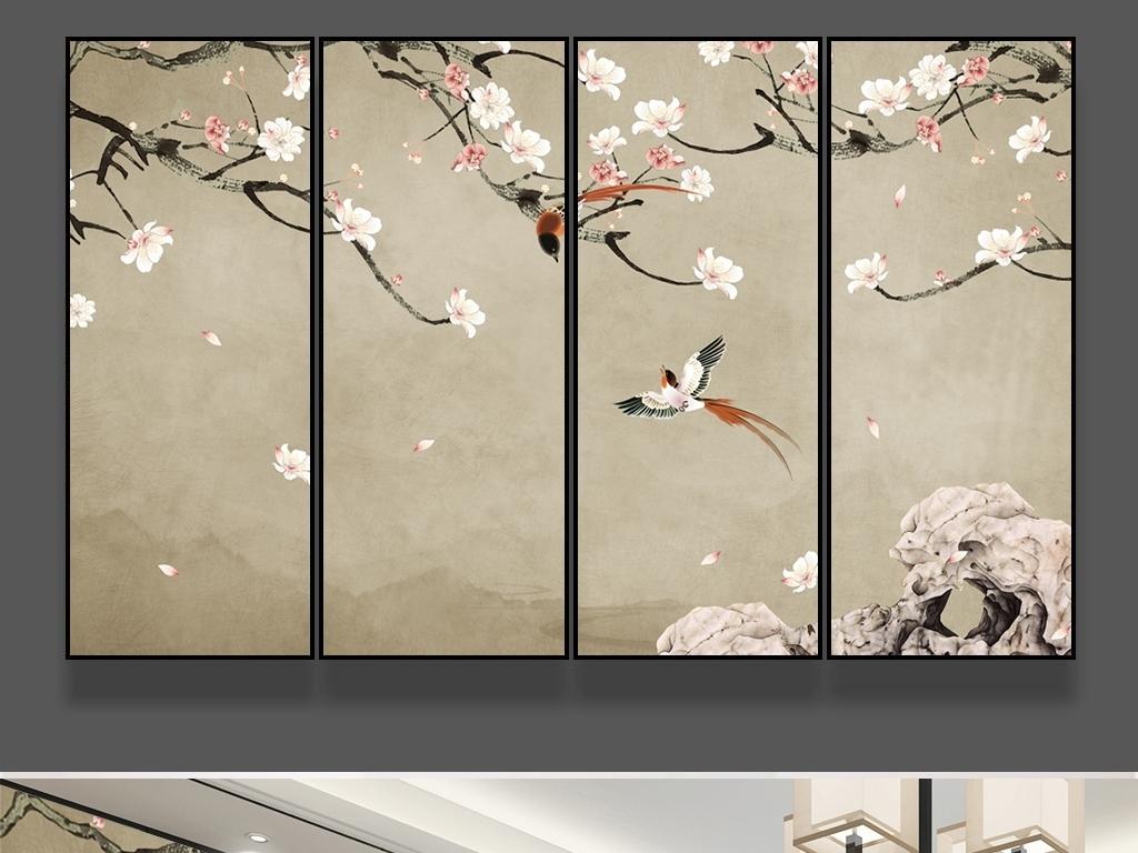 新中式海棠花手绘工笔花鸟图条屏背景墙壁画