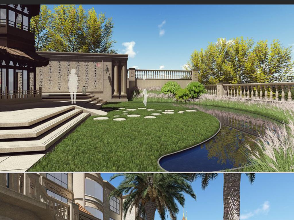 现代主义风格别墅庭院景观设计欧式建筑设计图片