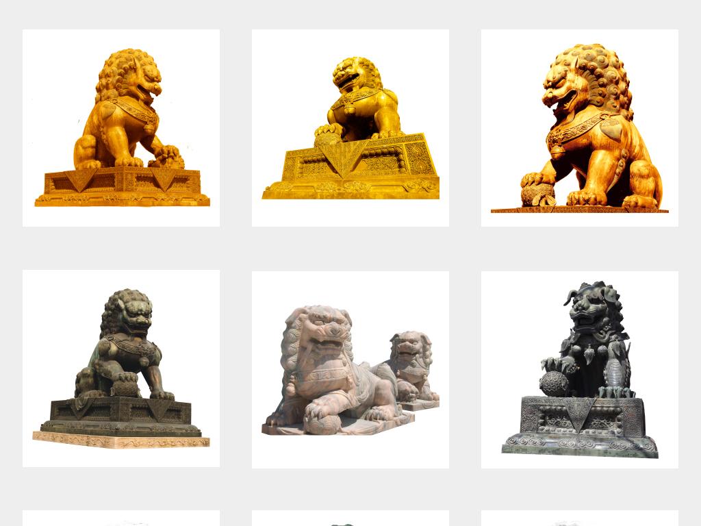 石狮子石雕雕塑免抠png素材图片