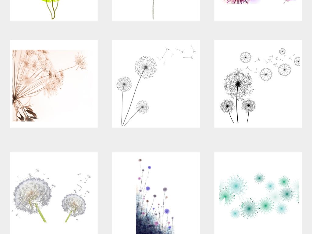 免抠元素 自然素材 花卉 > 唯美手绘蒲公英背景设计png免扣素材  素材