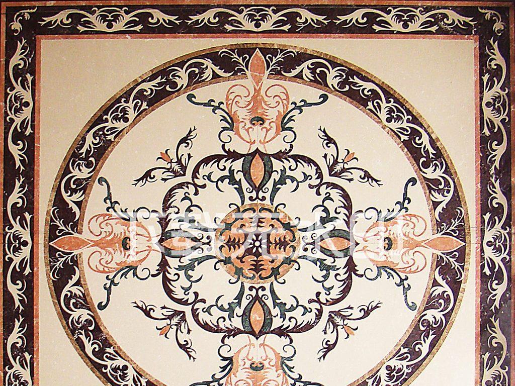 水刀拼花方形地砖花纹石材工艺图片