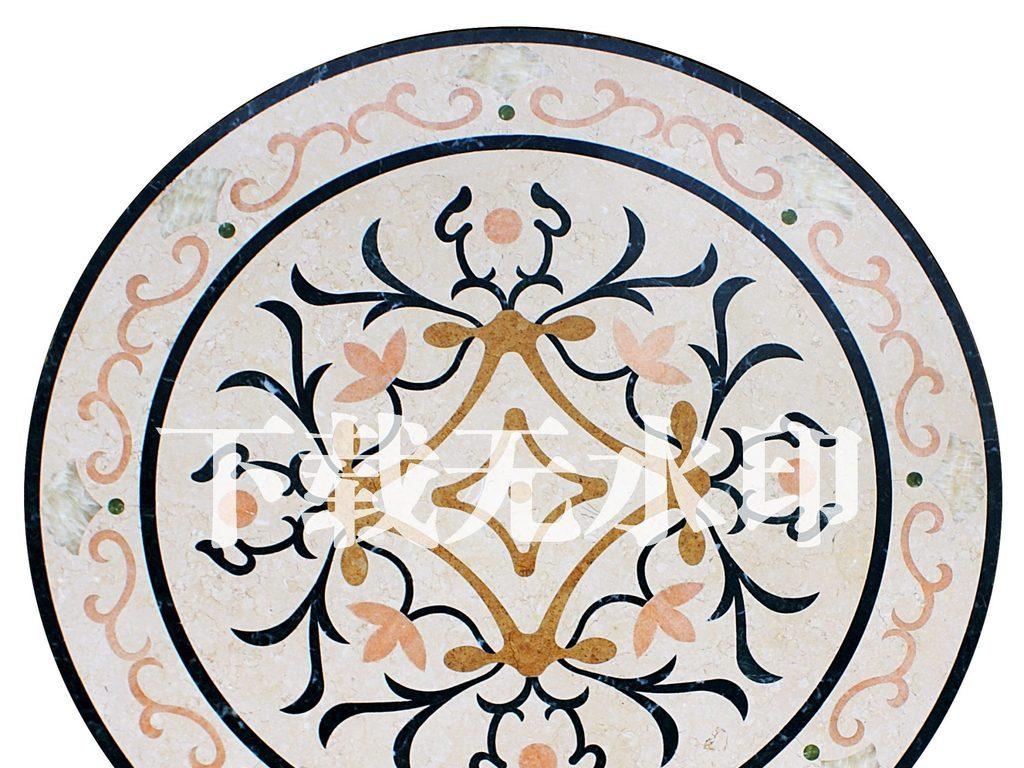 水刀拼花圆形花纹石材工艺地砖图片