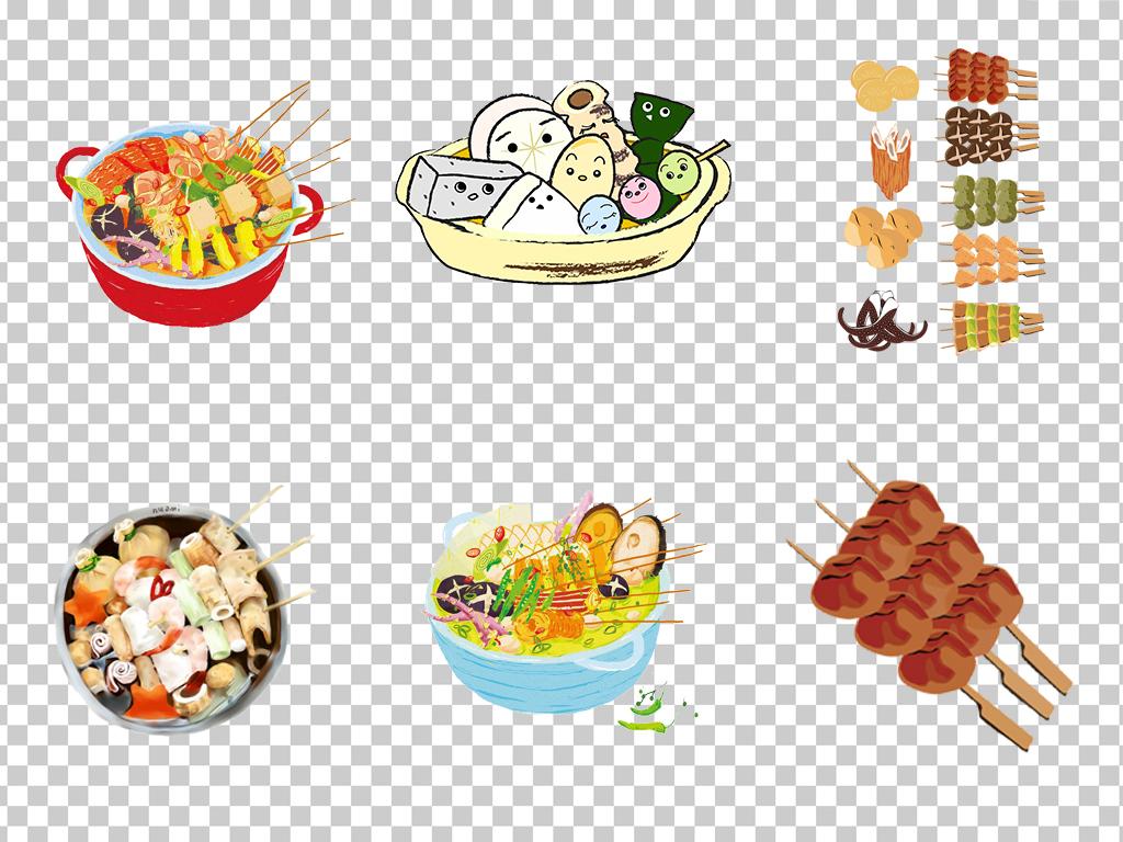 0489串串香关东煮卡通手绘关东煮麻辣烫香菇肉丸免抠素材