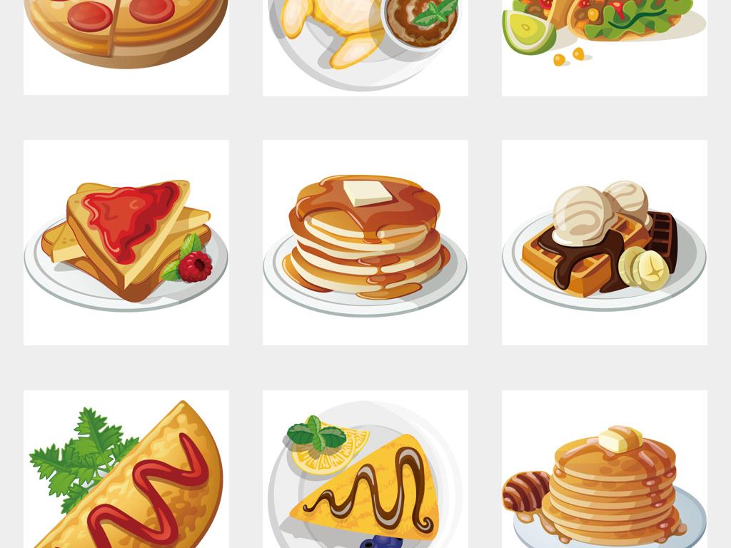 卡通手绘美食甜品下午茶点心食物面包