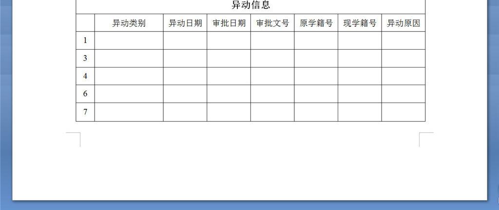 高中生电子学籍学生基本信息表格模版下载模板 word doc格式素材 图图片