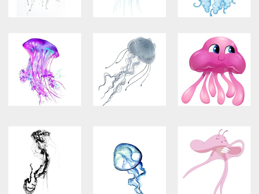 手绘可爱彩色水母海洋生物水母png免扣素材