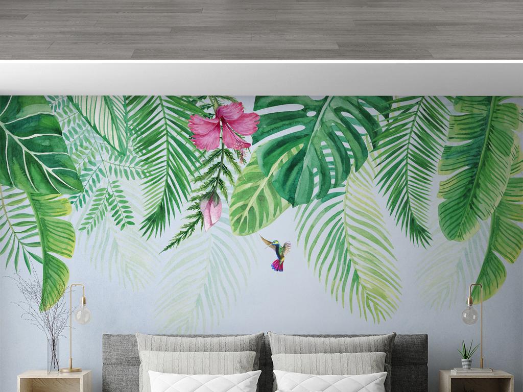 电视背景墙 手绘电视背景墙 > ins北欧风格热带植物背景墙壁纸壁画