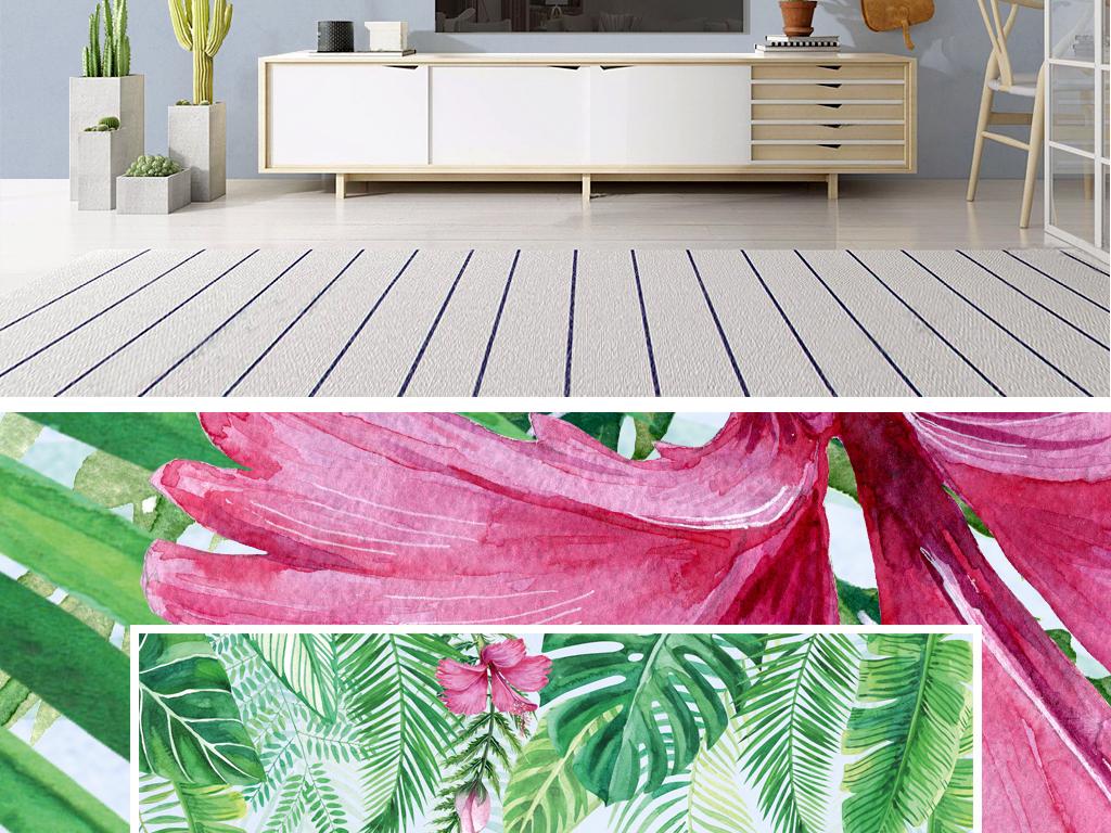 背景墙|装饰画 电视背景墙 手绘电视背景墙 > ins北欧风格热带植物