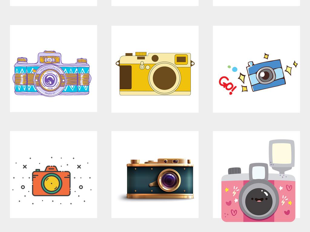 卡通可爱手绘单反相机卡片机数码相机png素材