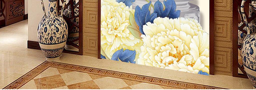 中式手绘牡丹花玉雕鼎客厅玄关过道背景墙