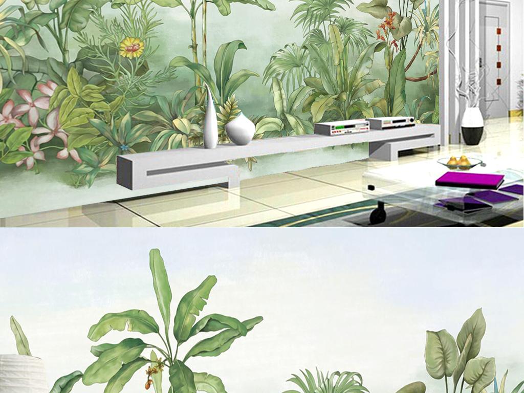 热带植物手绘水彩绿植风景背景