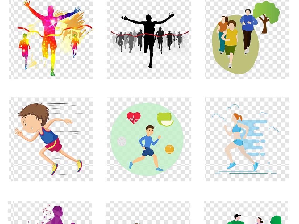 马拉松跑步奔跑吧人物剪影运动会图片素材