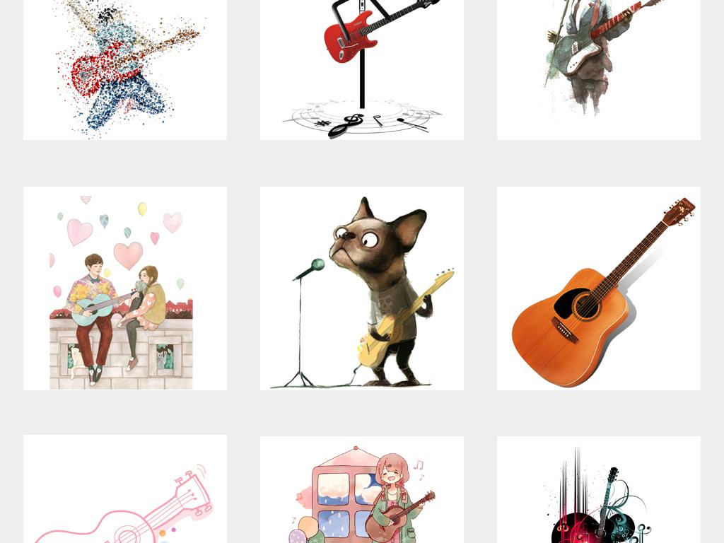 手绘实物吉他乐器弦乐电吉他音乐海报设计png素材