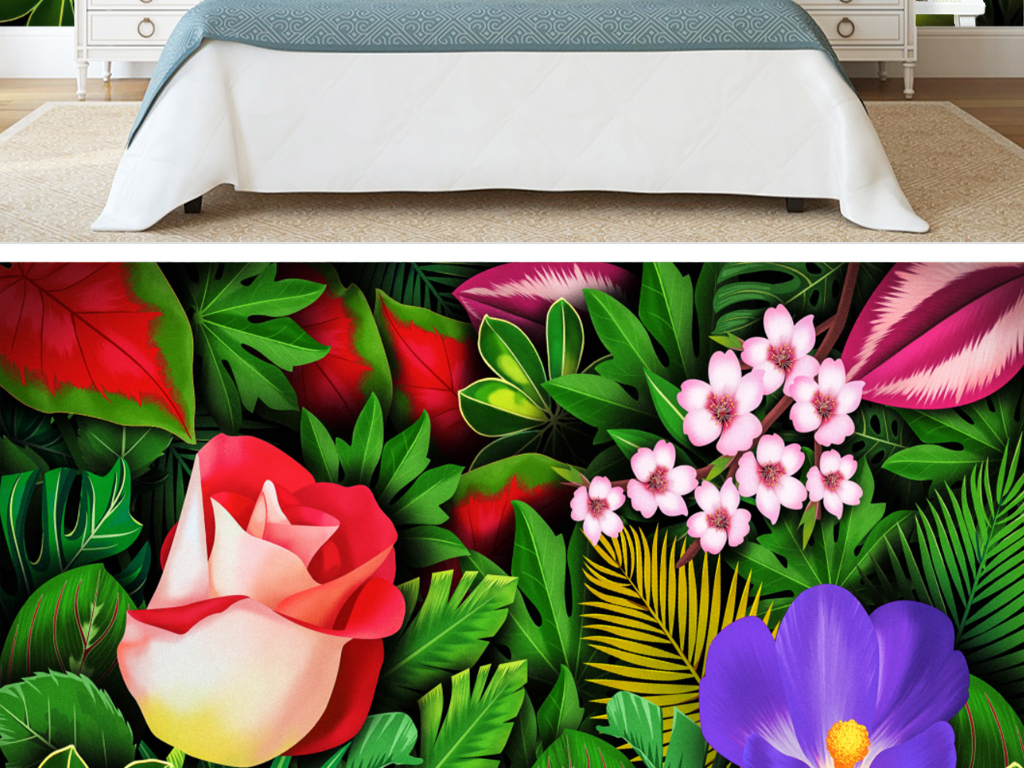 手绘热带雨林芭蕉叶花卉电视背景墙