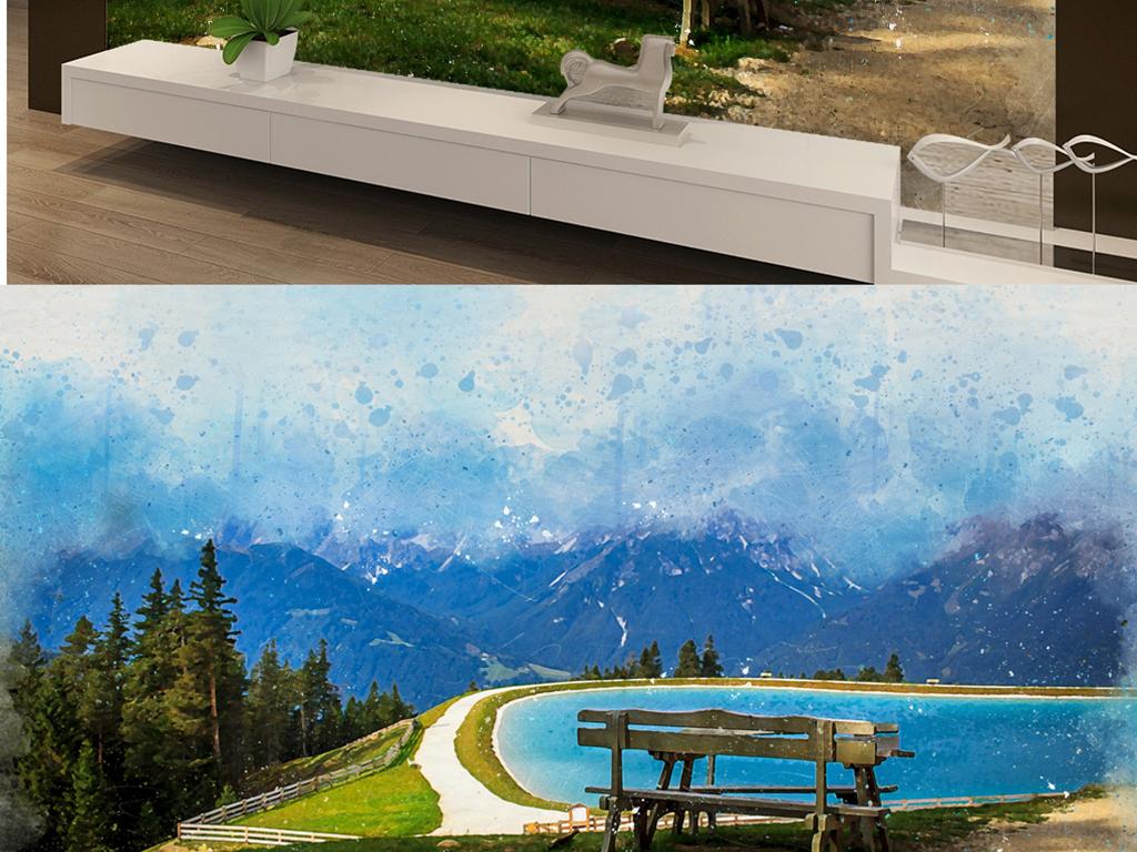 欧式风景公园长椅油画背景墙图片设计素材 高清模板下载 30.72MB 电视背景墙大全