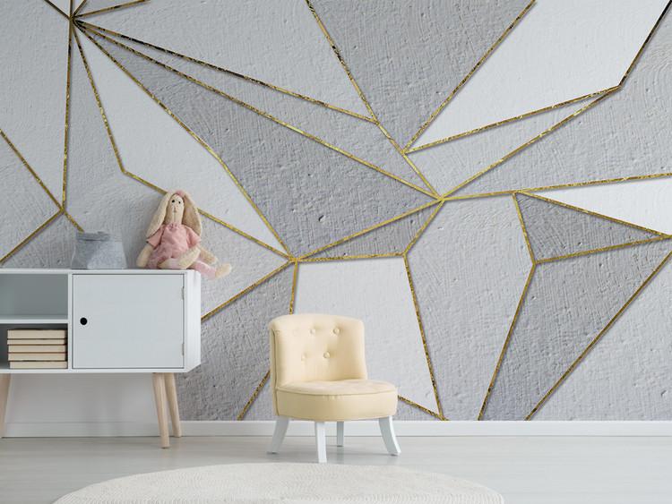 北欧简约个性抽象几何金色电视背景墙