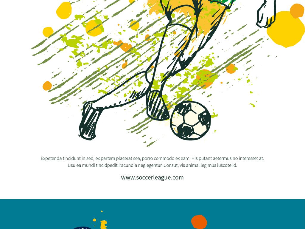 免扣元素 花纹边框 卡通手绘边框 > 2018时尚油彩喷溅手绘足球运动员