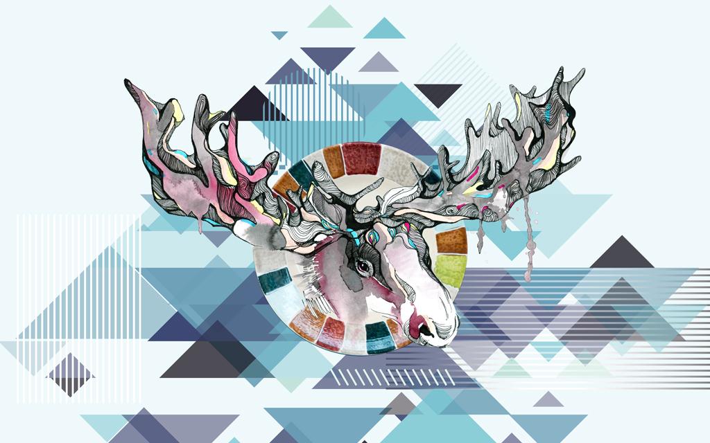 北欧风情手绘麋鹿