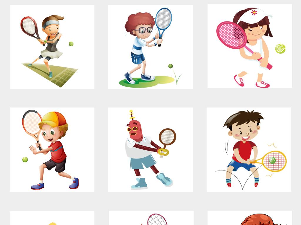 手绘剪影卡通打网球运动网球海报设计png免扣素材