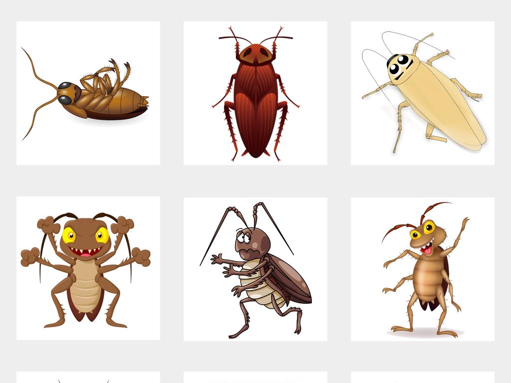 可爱卡通手绘昆虫蟑螂小强素材png免扣元素