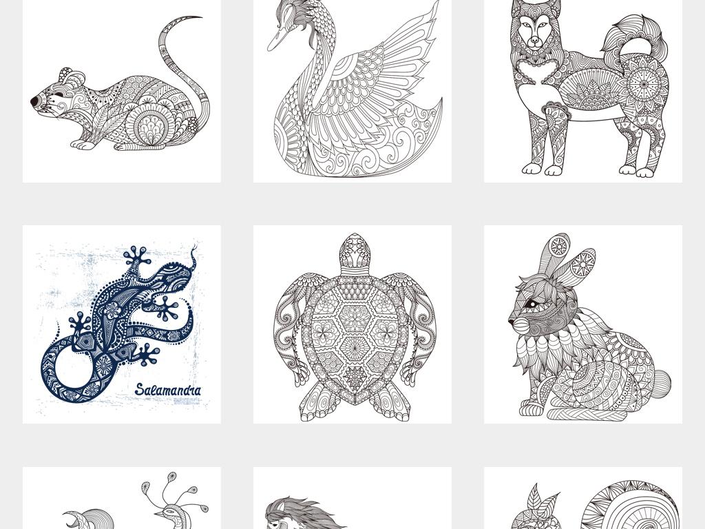 创意线描绘画黑白手绘动物花纹植物素材png元素材