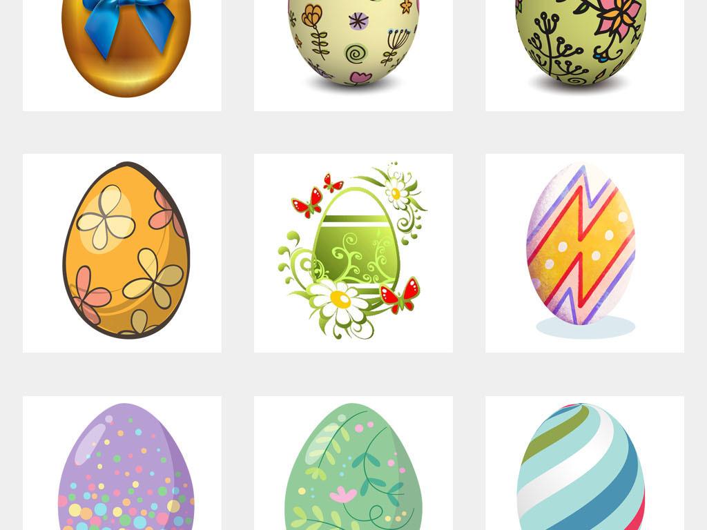 可爱复活节小动物手绘彩蛋海报png素材