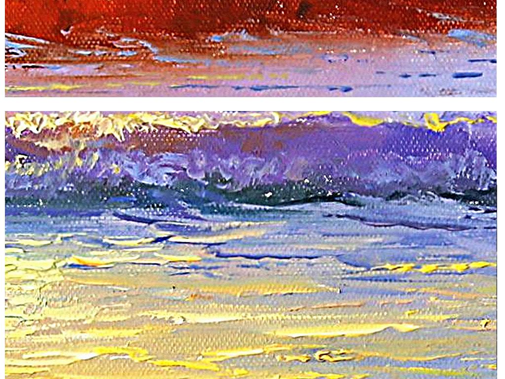 高清手绘日出天空大海风景油画装饰画背景墙