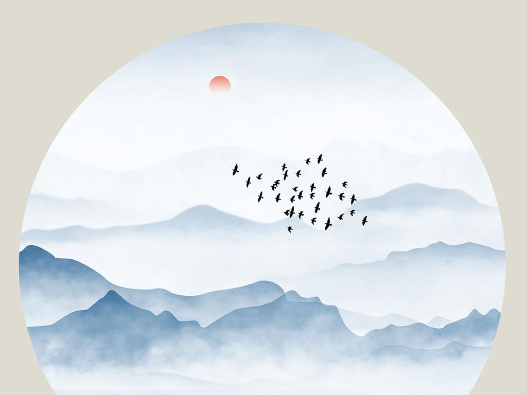 新中式圆形写意水墨抽象山水装饰画
