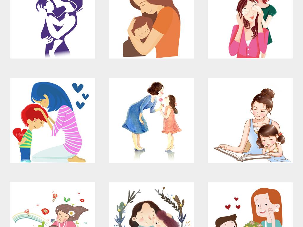 节日素材 父亲节丨母亲节 > 手绘卡通母亲节感恩母亲妈妈孩子人物背景