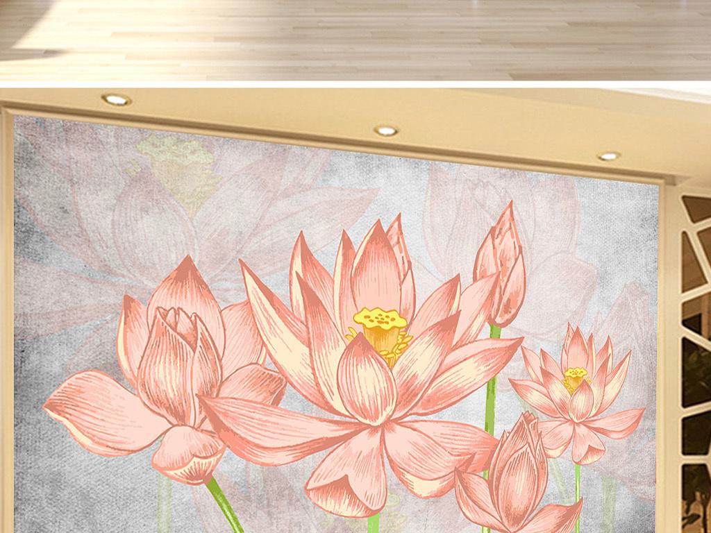 怀旧手绘荷花沙发背景墙装饰画壁画