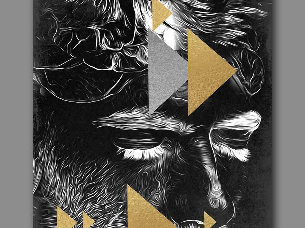 北欧创意手绘黑白人物肖像几何图形装饰画