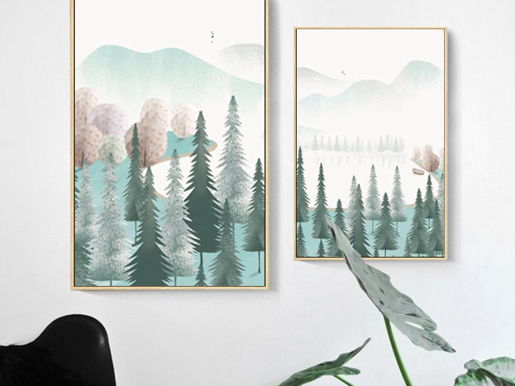 现代简约手绘插画小清新风景山水北欧装饰画