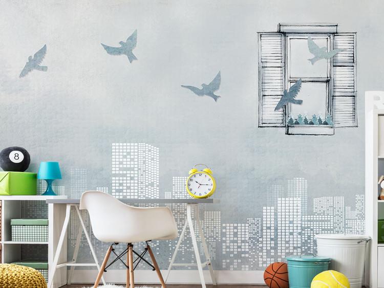 现代简约艺术手绘城市窗口飞鸟背景墙