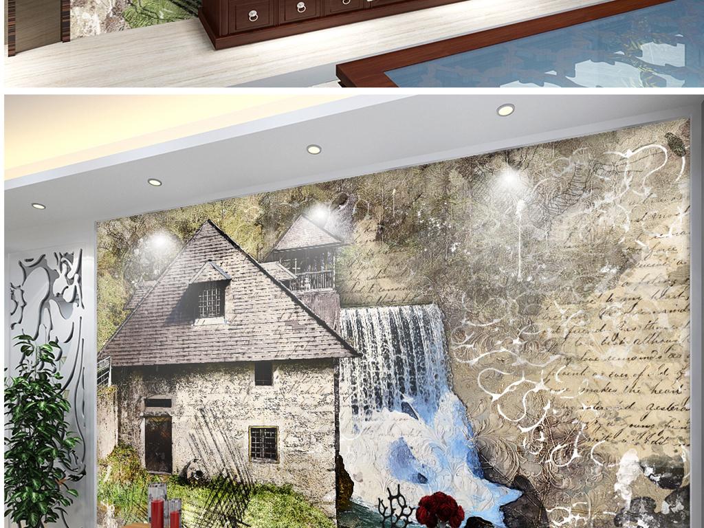 铅笔手绘纹理木屋流水图片设计素材_高清模板下载(32.