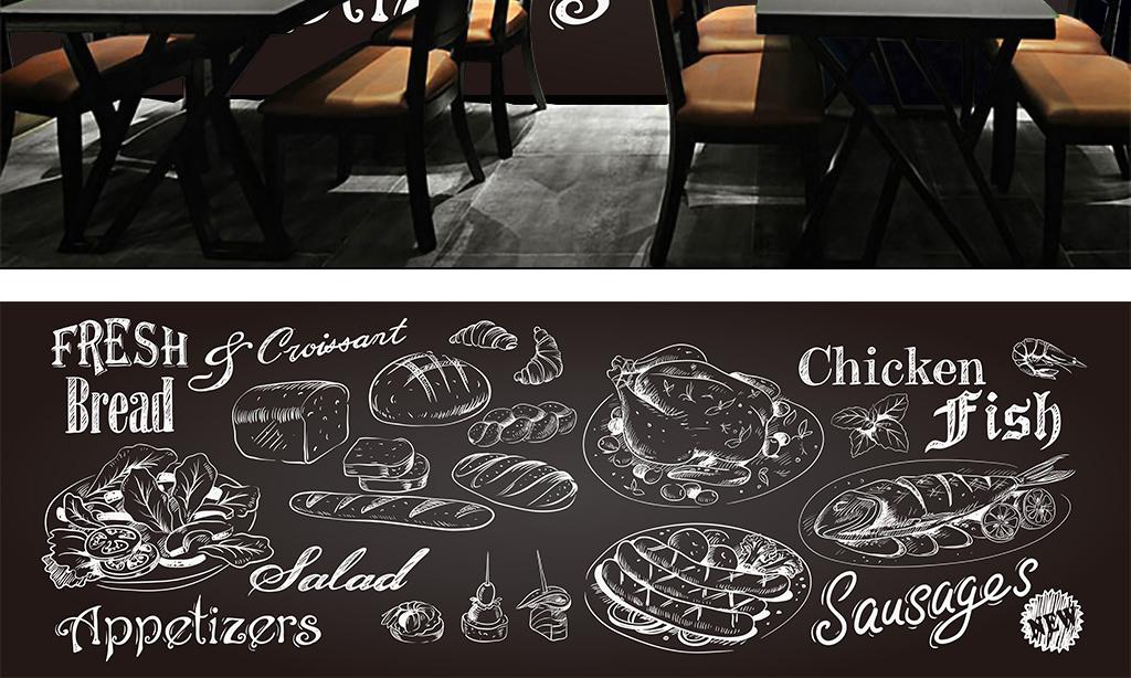 背景墙|装饰画 工装背景墙 酒店|餐饮业装饰背景墙 > 手绘黑色食物