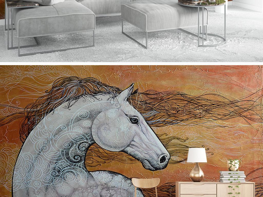 北欧简约手绘白色骏马电视背景墙