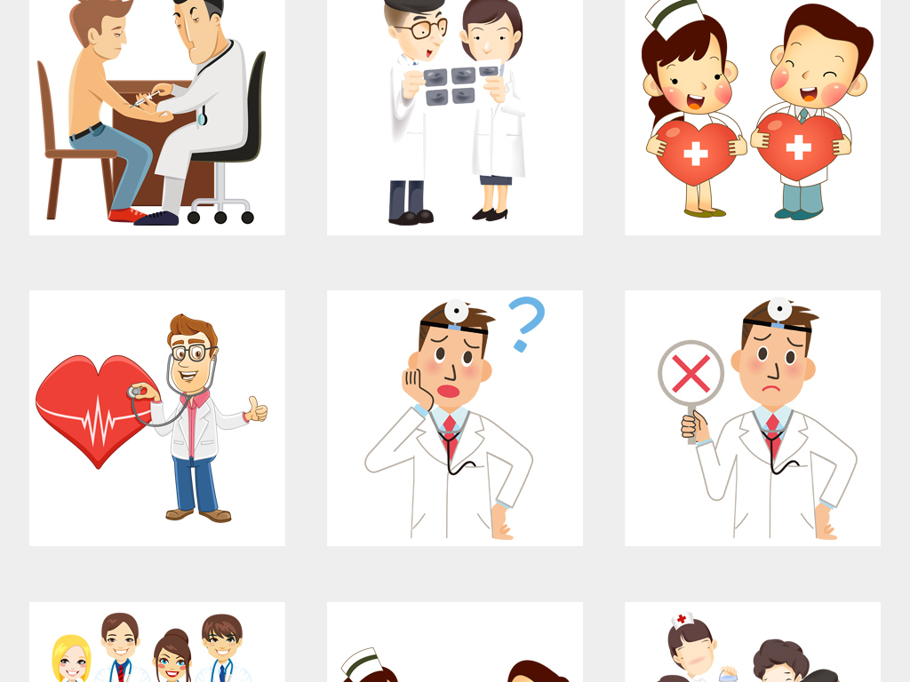 卡通医生看病医院小贴士温馨提示人物png素材