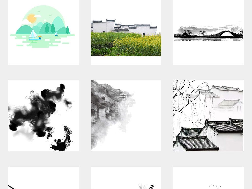 免扣元素 花纹边框 中国风边框 > 中国风手绘水墨江南水乡古建筑png