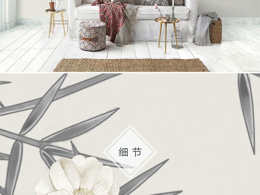 新中式手绘花鸟沙发电视背景墙