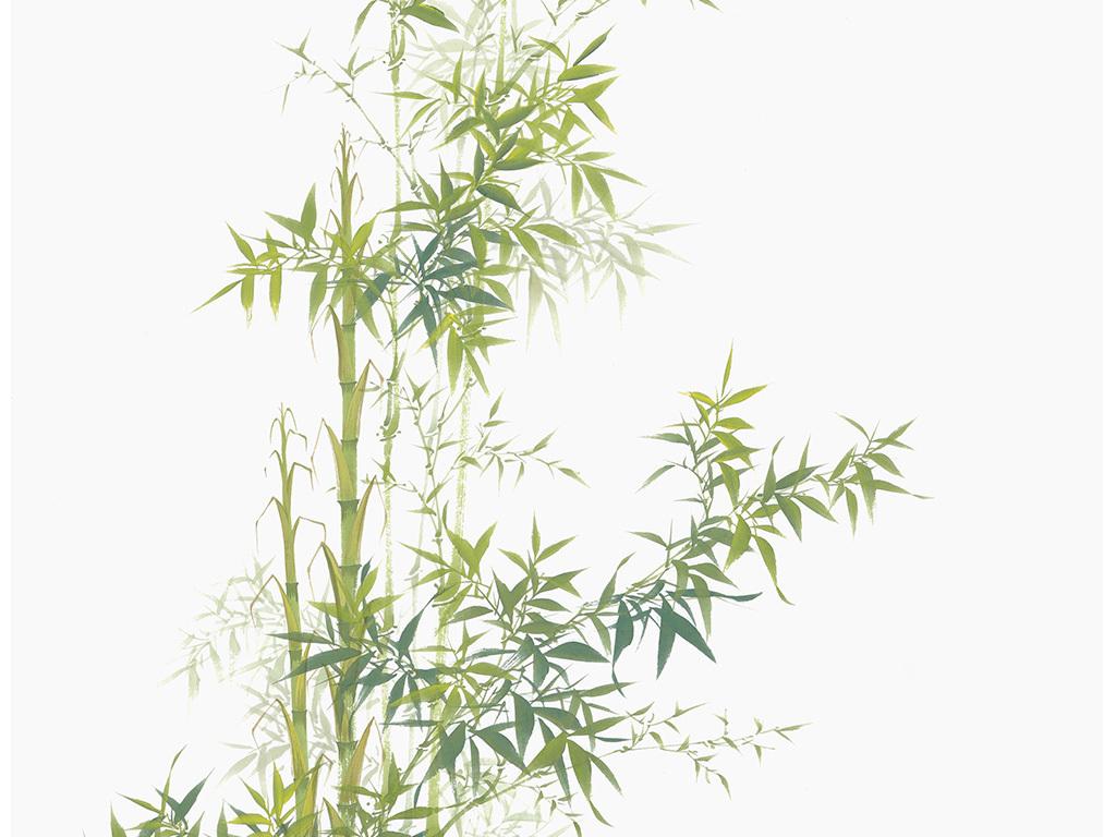 中国风手绘竹子工笔画玄关背景装饰画图片
