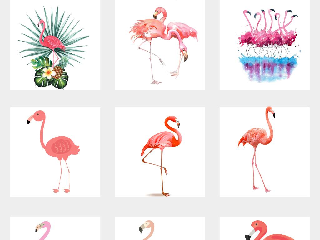 文艺清新水彩火烈鸟卡通动物可爱卡通素材火烈鸟背景素材手绘背景森系