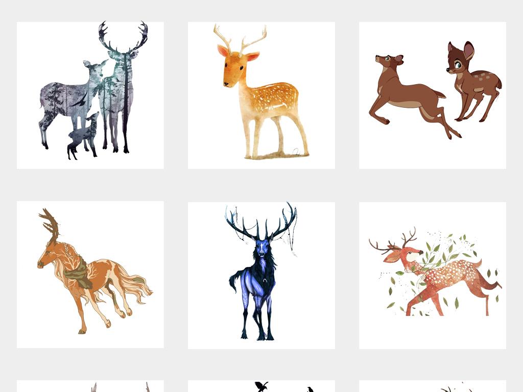 手绘水彩鹿森林鹿剪影麋鹿剪影png素材