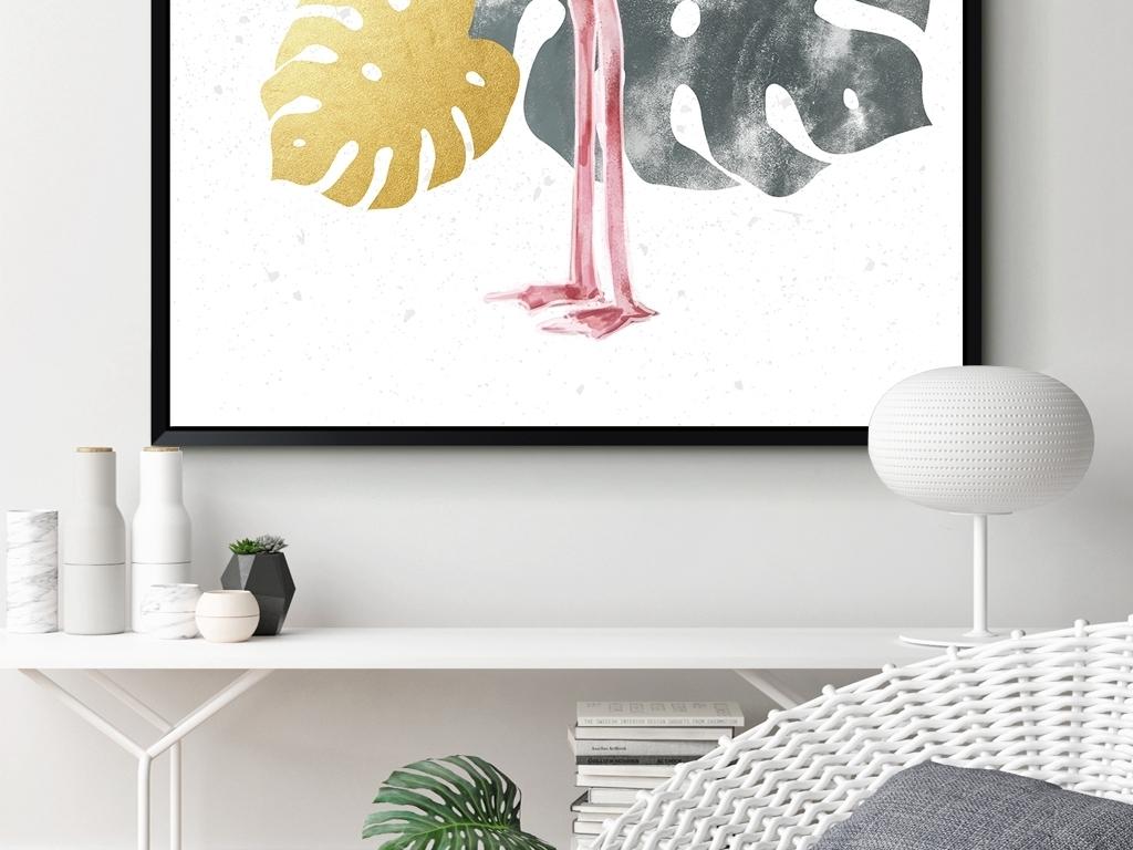 ins水彩手绘现代简约热带植物龟背竹火烈鸟北欧玄关装饰画