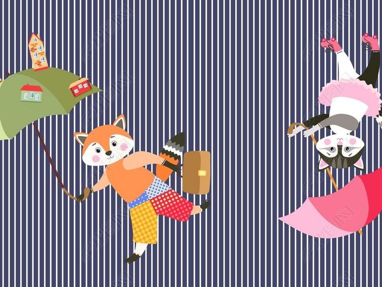 卡通人物猫狐狸Q版人物满身印花底纹素材