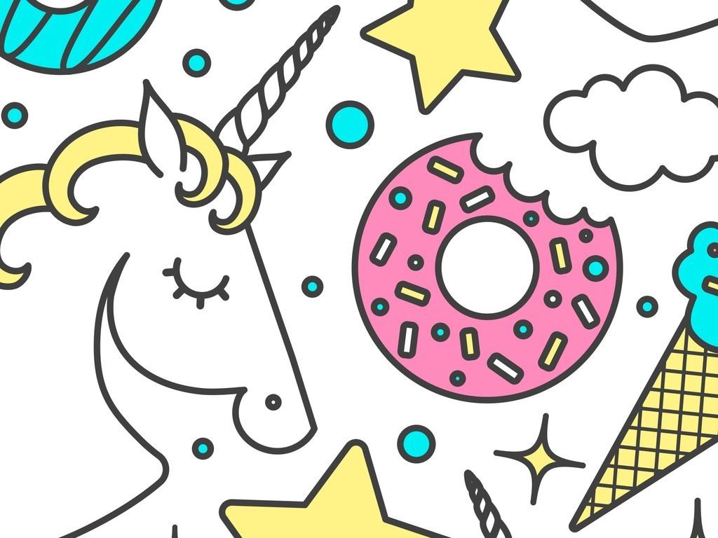 几何图形星星卡通图案卡通动物马满身印花图