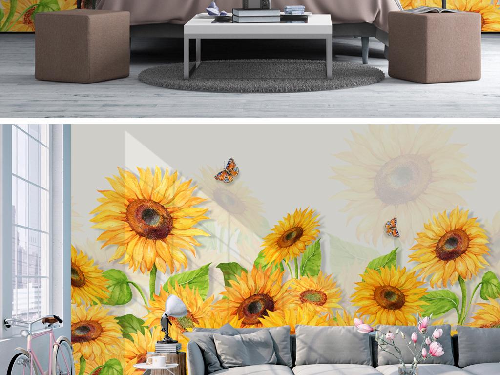 北欧简约小清新手绘向日葵花卉水彩背景墙