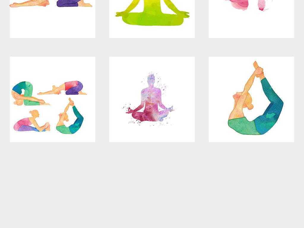 手绘水彩瑜伽美女png透明背景免抠素材