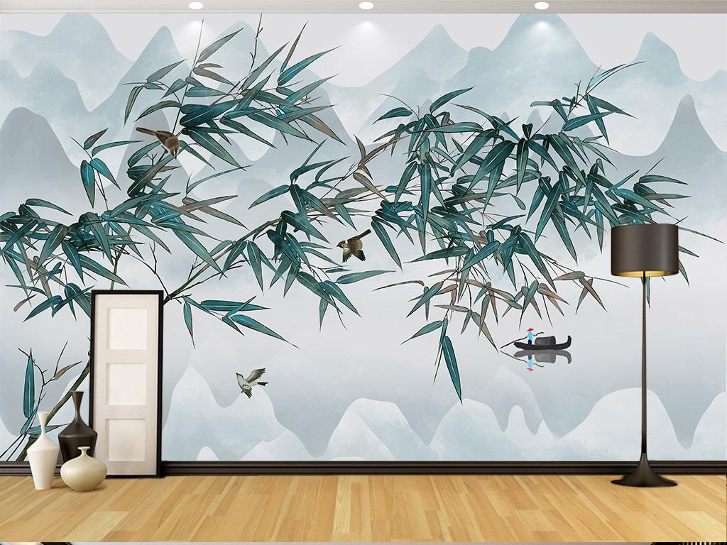 手绘新中式工笔竹鸟山水图客厅软装壁画